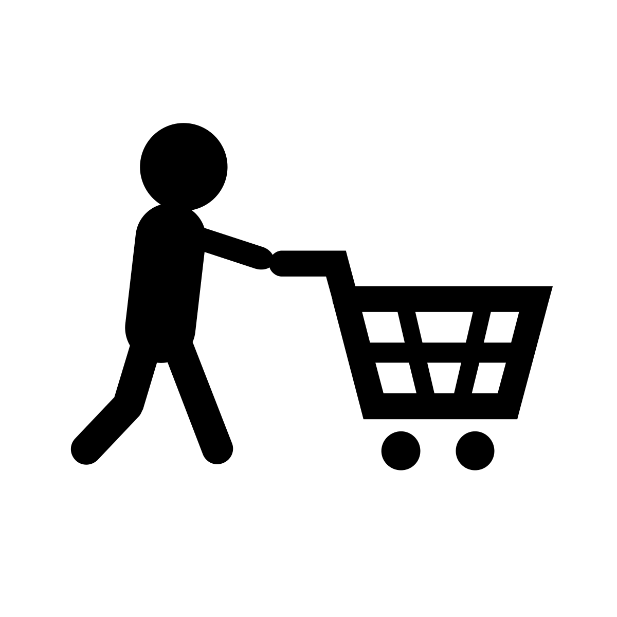 black and white shopping cart