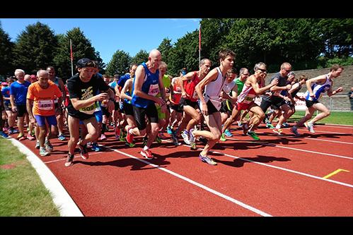 older athlete runs